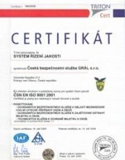 Certifikát ISO 9001:2001
